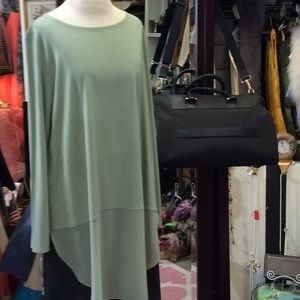 Eileen Fisher silk tunic parts sheer silk & jersey